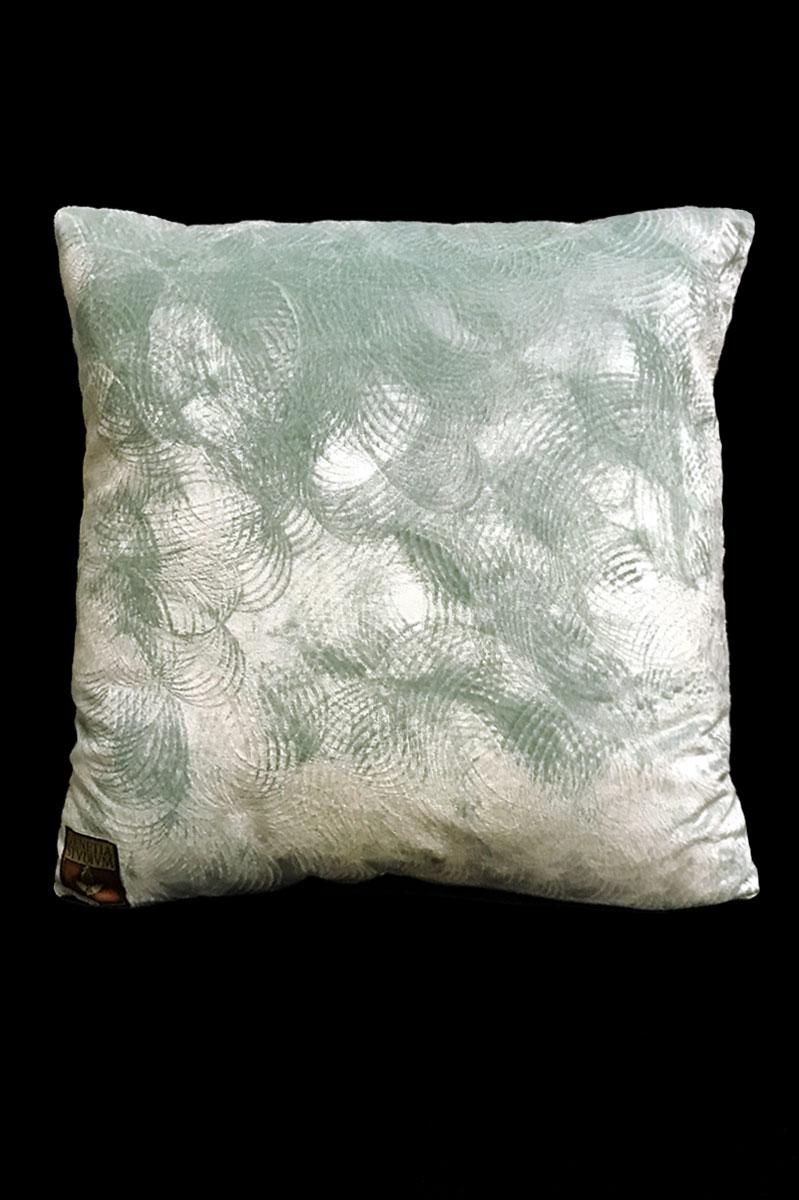 Venetia Studium Barbarigo aquamarine printed velvet square cushion back