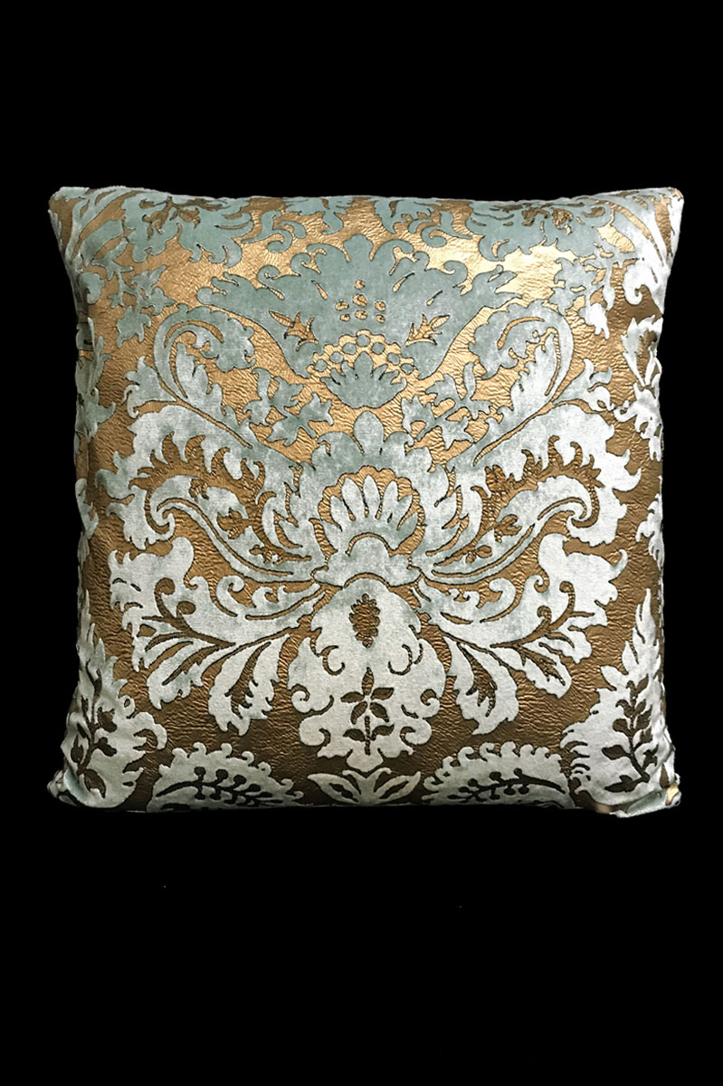 Venetia Studium Barbarigo aquamarine printed velvet square cushion front