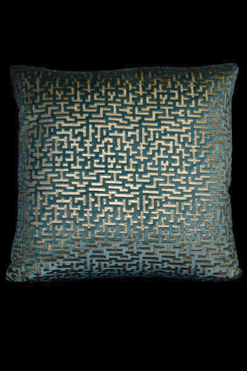 Venetia Studium Labirinto square teal printed velvet cushion front