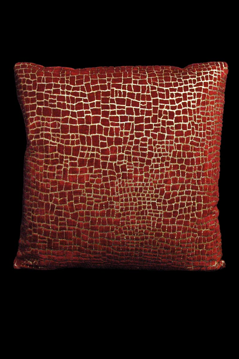 Venetia Studium Mosaico red printed velvet square cushion front