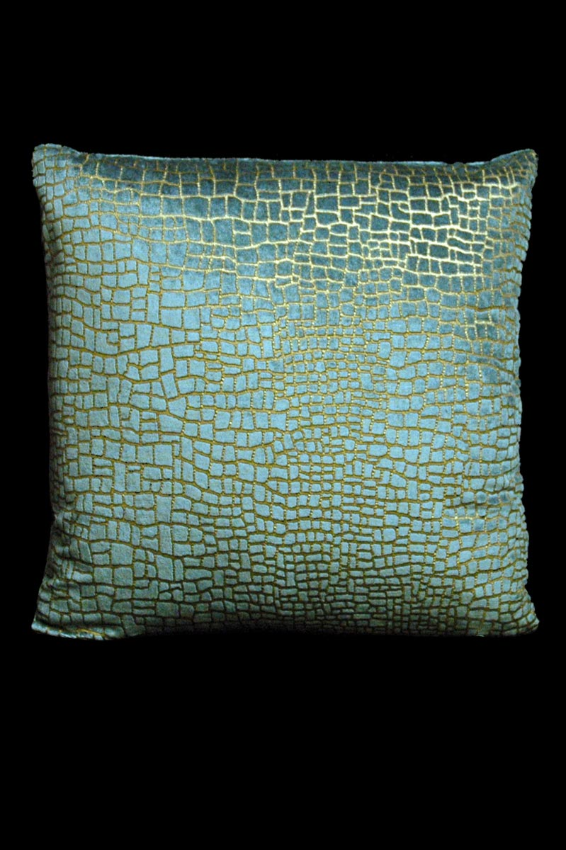Venetia Studium Mosaico teal printed velvet square cushion front