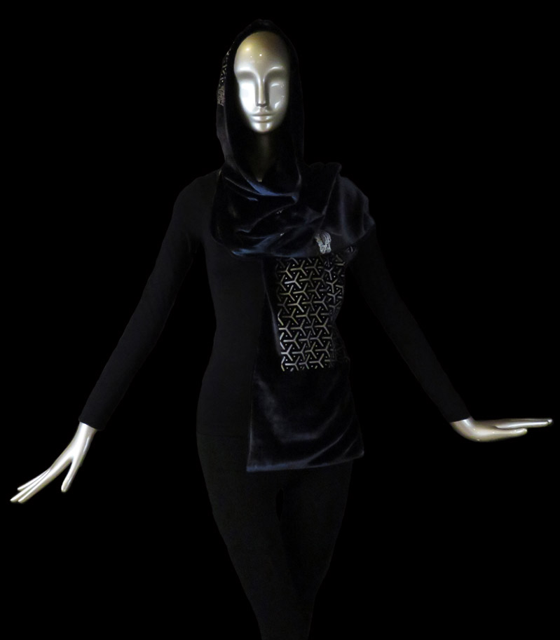 Fortuny printed velvet hooded shawl