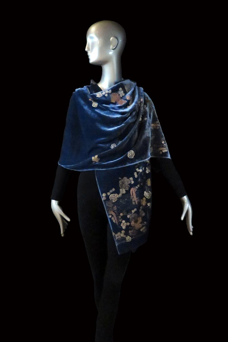 Fortuny black printed velvet shawl