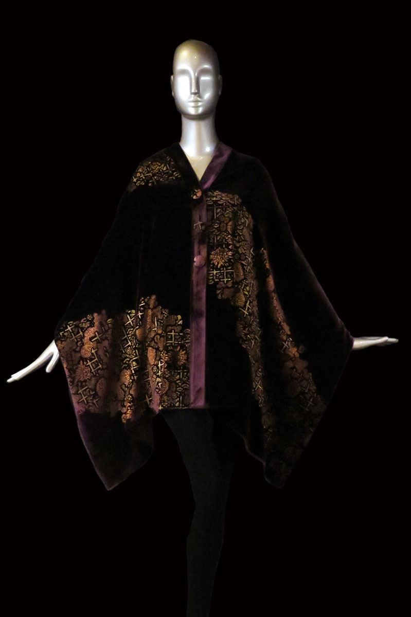 Fortuny aubergine printed velvet stole with buttons front