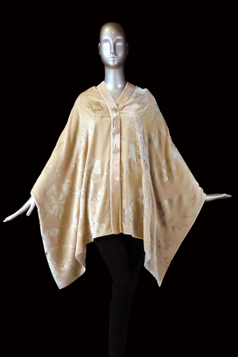 Fortuny powderprinted velvet stole with buttons front