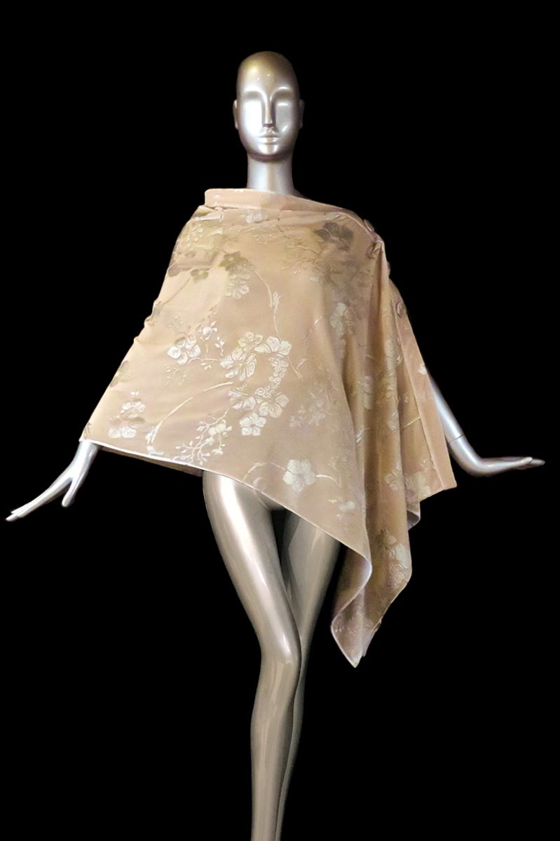 Fortuny powder printed velvet stole with buttons side