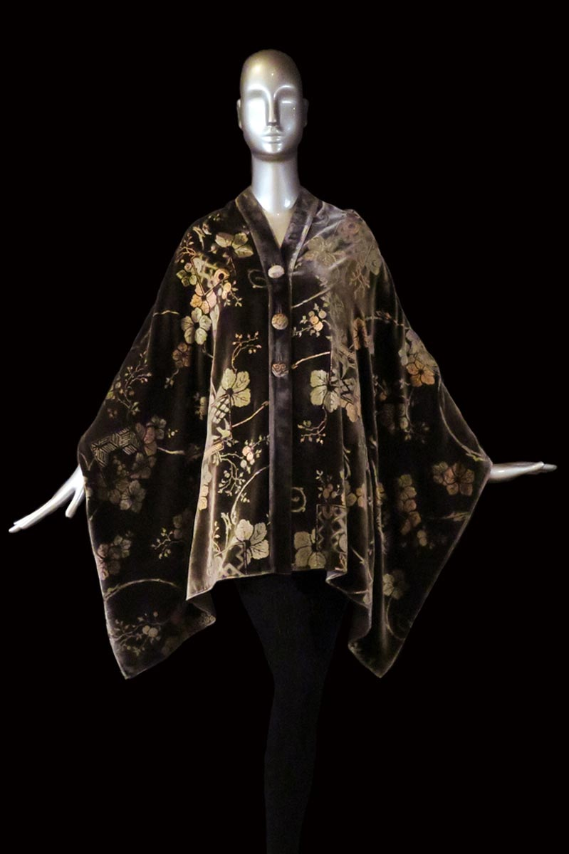Fortuny glacée printed velvet stole with buttons front