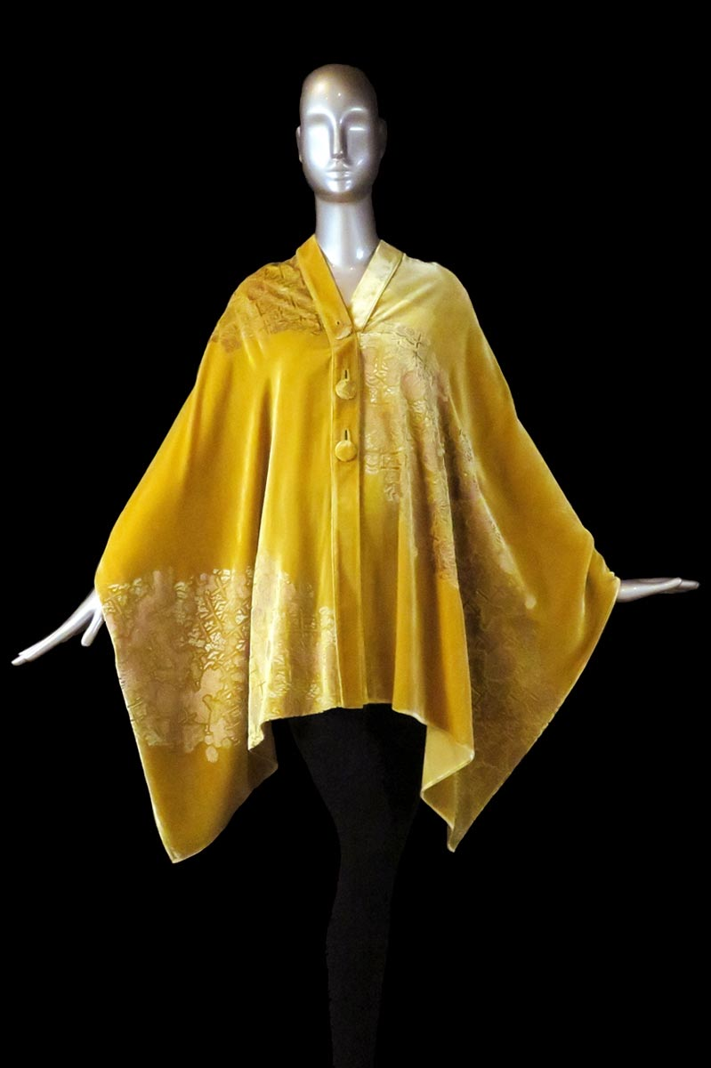 Fortuny gold printed velvet stole with buttons front