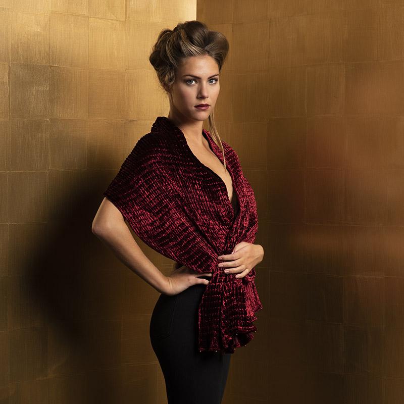Pleated velvet scarves