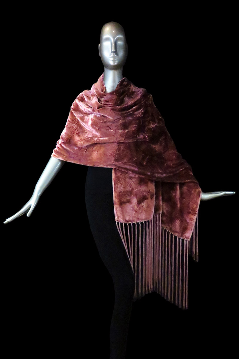 Fortuny furrowed velvet shawl with fringes