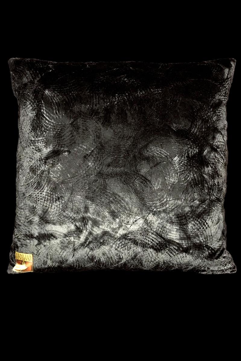 Venetia Studium black printed velvet square cushion back