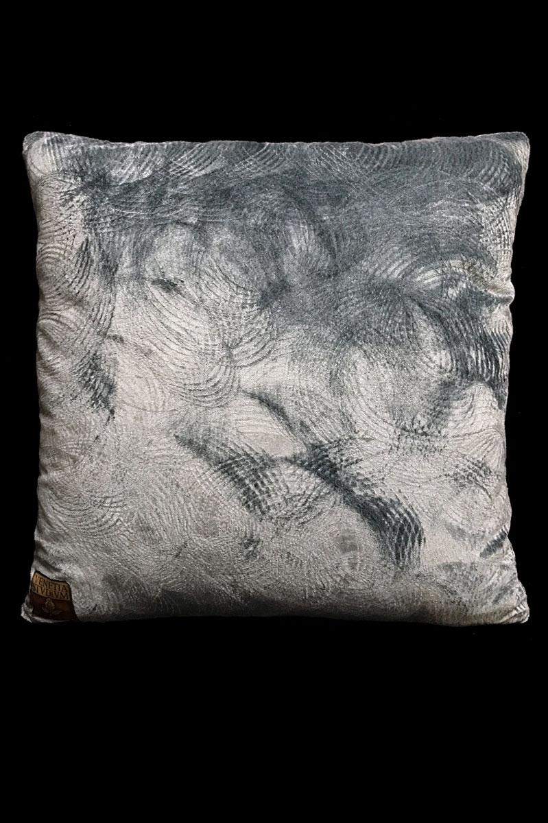 Venetia Studium grey printed velvet square cushion back