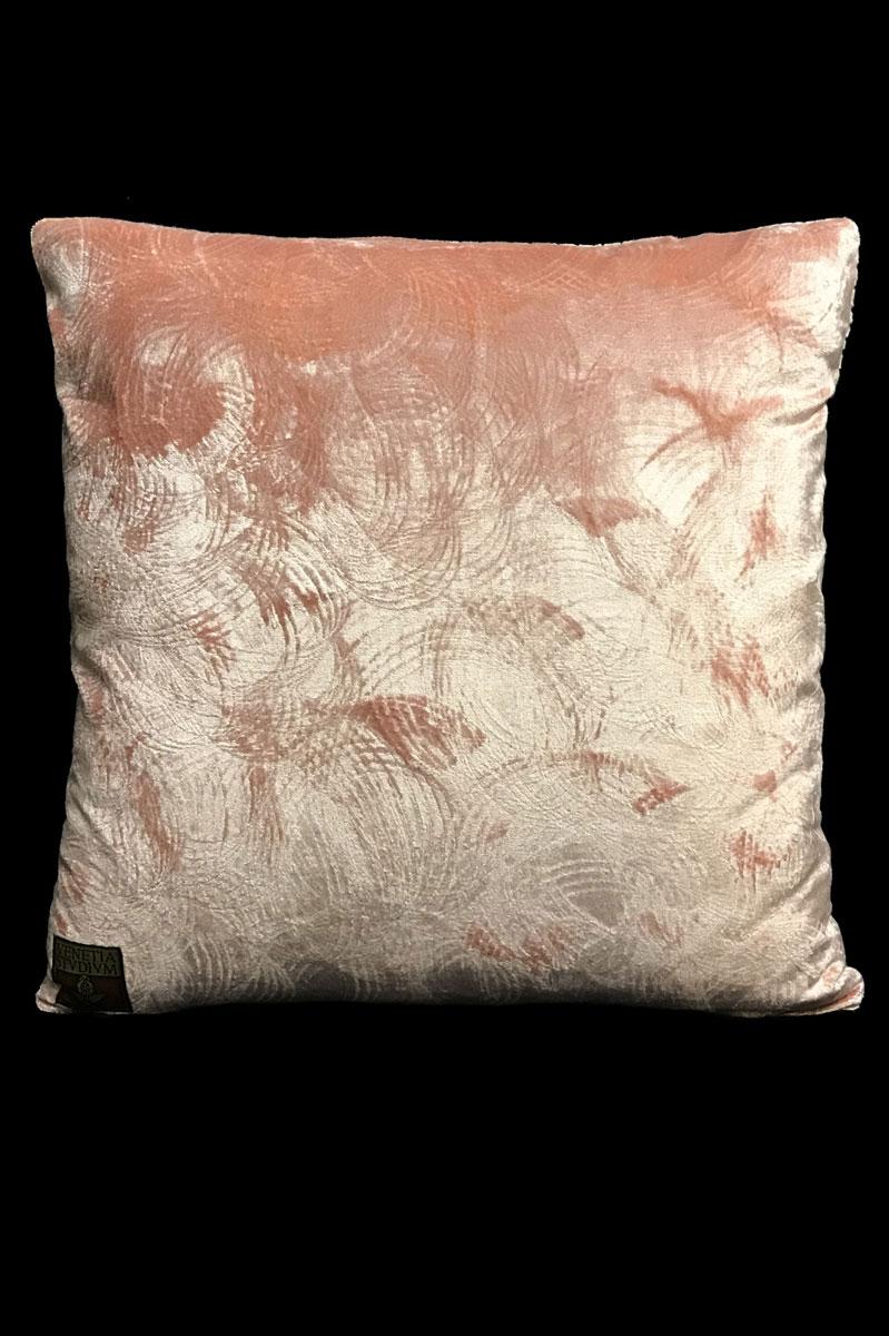 Venetia Studium pink printed velvet square cushion back