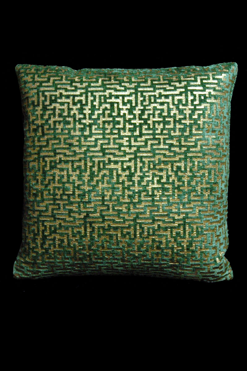 Venetia Studium Labirinto square green printed velvet cushion front