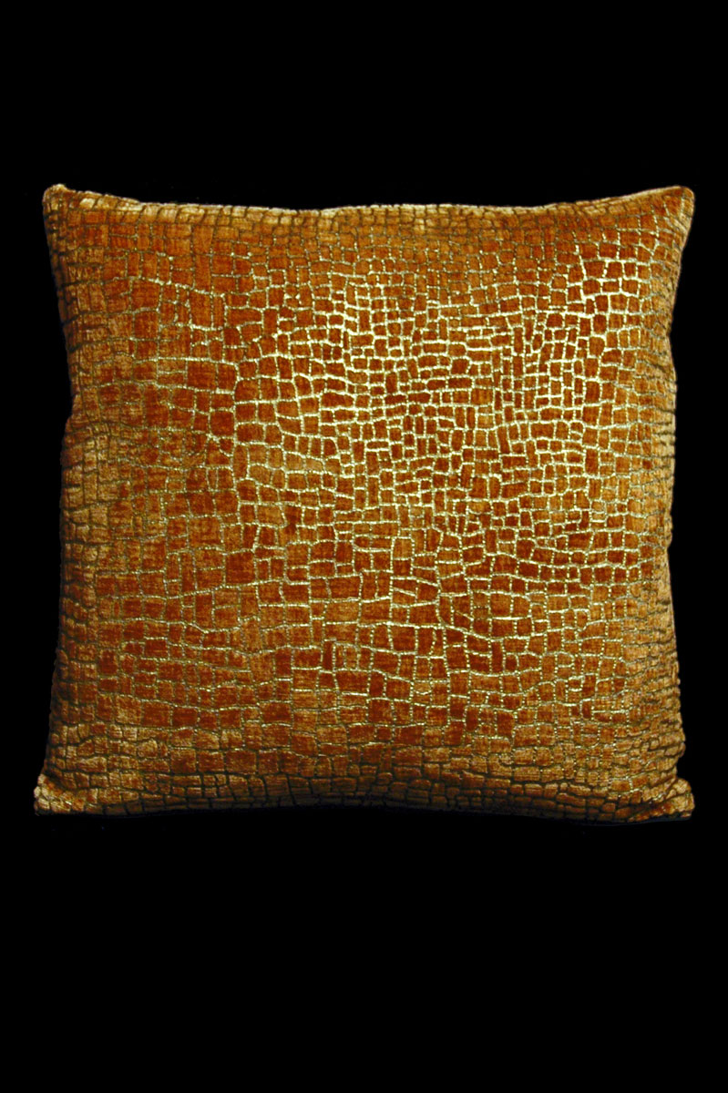 Venetia Studium Mosaico caramel printed velvet square cushion front