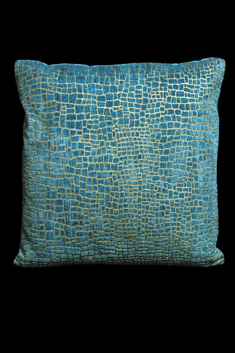Venetia Studium Mosaico aquamarine printed velvet square cushion front