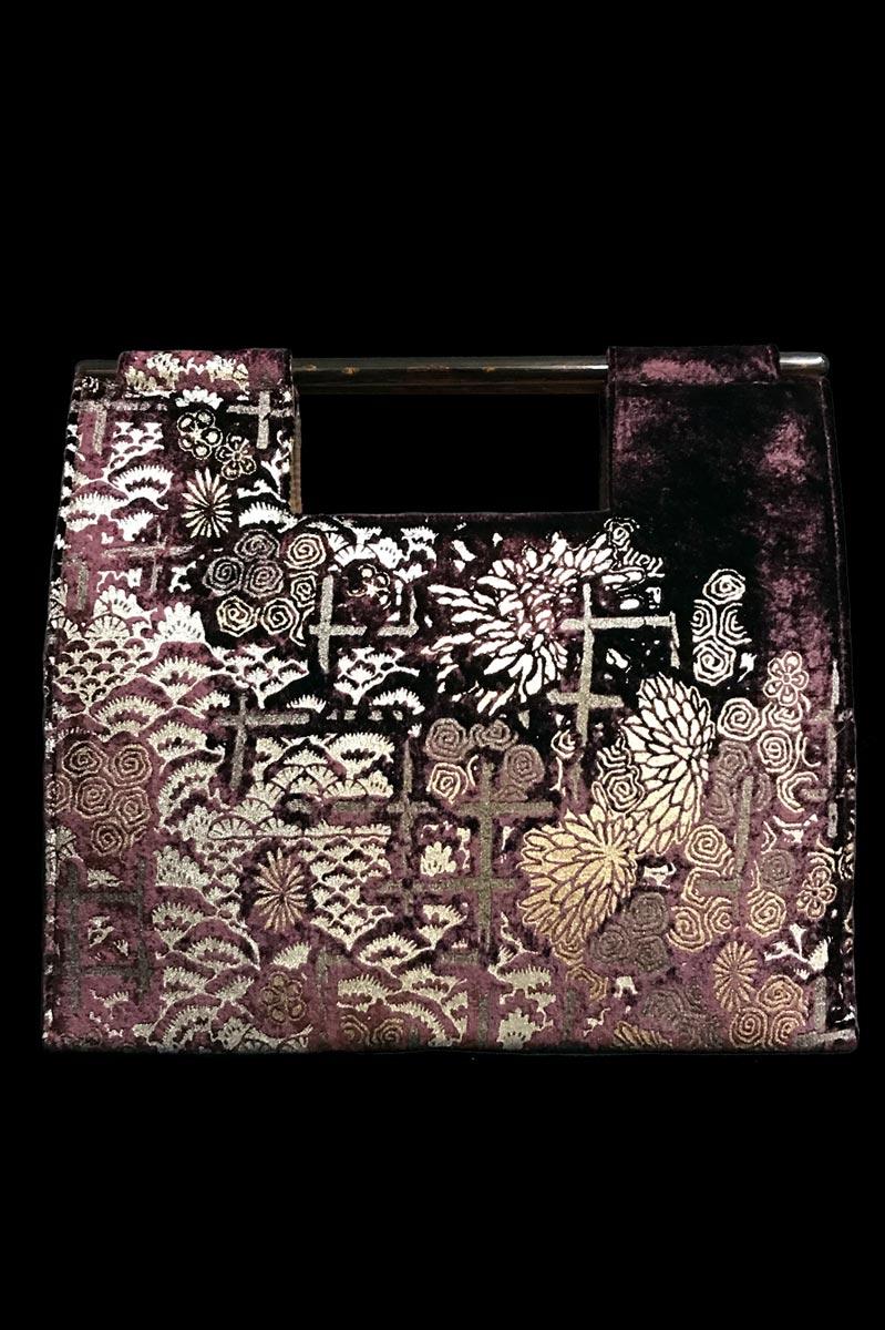 Fortuny Aiko aubergine velvet bag
