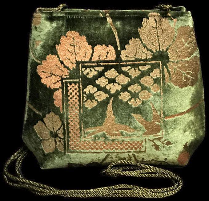 Fortuny Gioia moss green hand printed velvet bag
