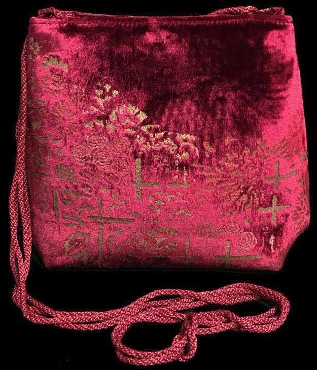 Fortuny Gioia magenta hand printed velvet bag