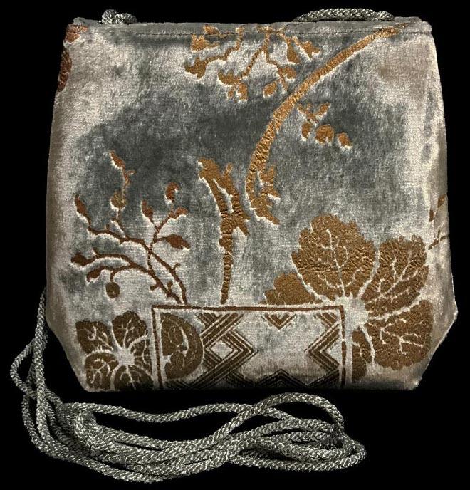 Fortuny Gioia grey-green hand printed velvet bag