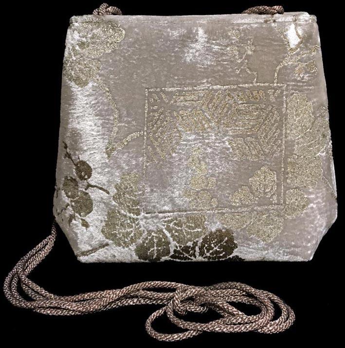 Fortuny Gioia dove gray hand printed velvet bag