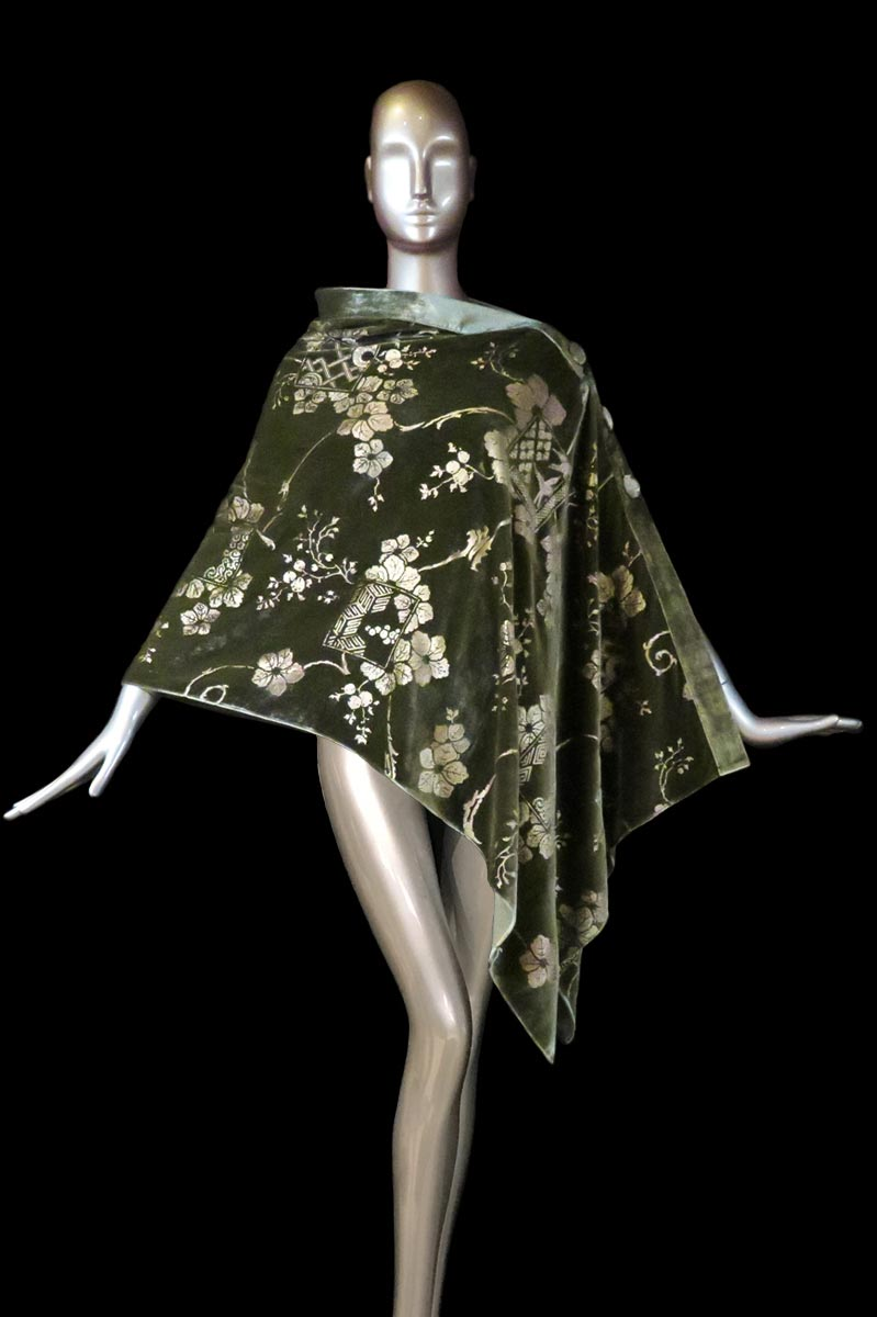Fortuny olive green printed velvet stole with buttons side