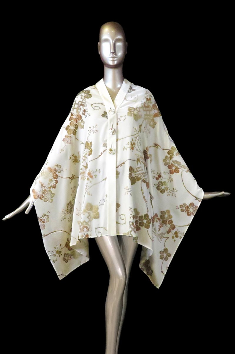 Fortuny white printed velvet stole with buttons front