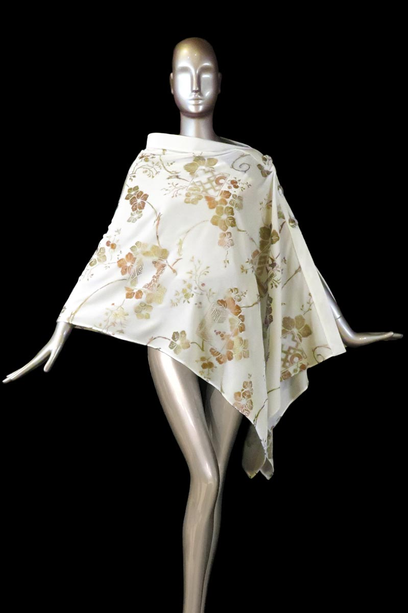 Fortuny white printed velvet stole with buttons side