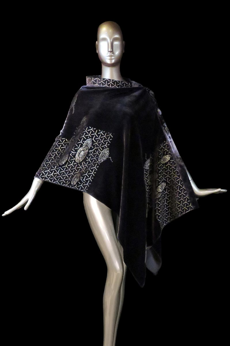 Fortuny purple-grey printed velvet stole with buttons side