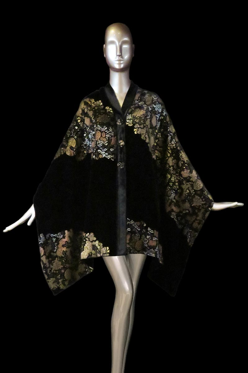 Fortuny black printed velvet stole with buttons front