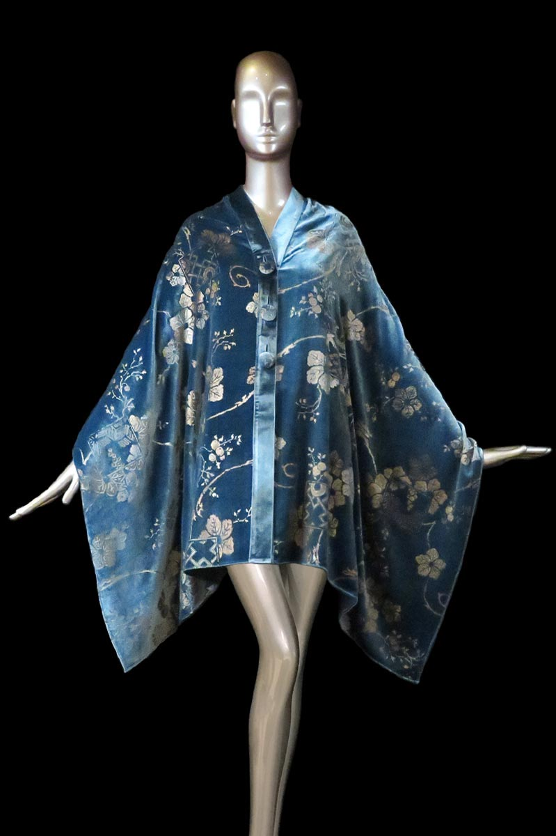 Fortuny Air Force blue printed velvet stole with buttons front