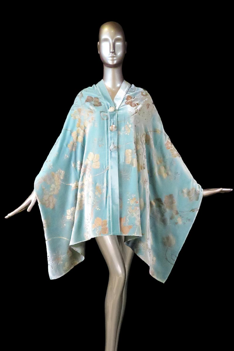 Fortuny light turquoise printed velvet stole with buttons front