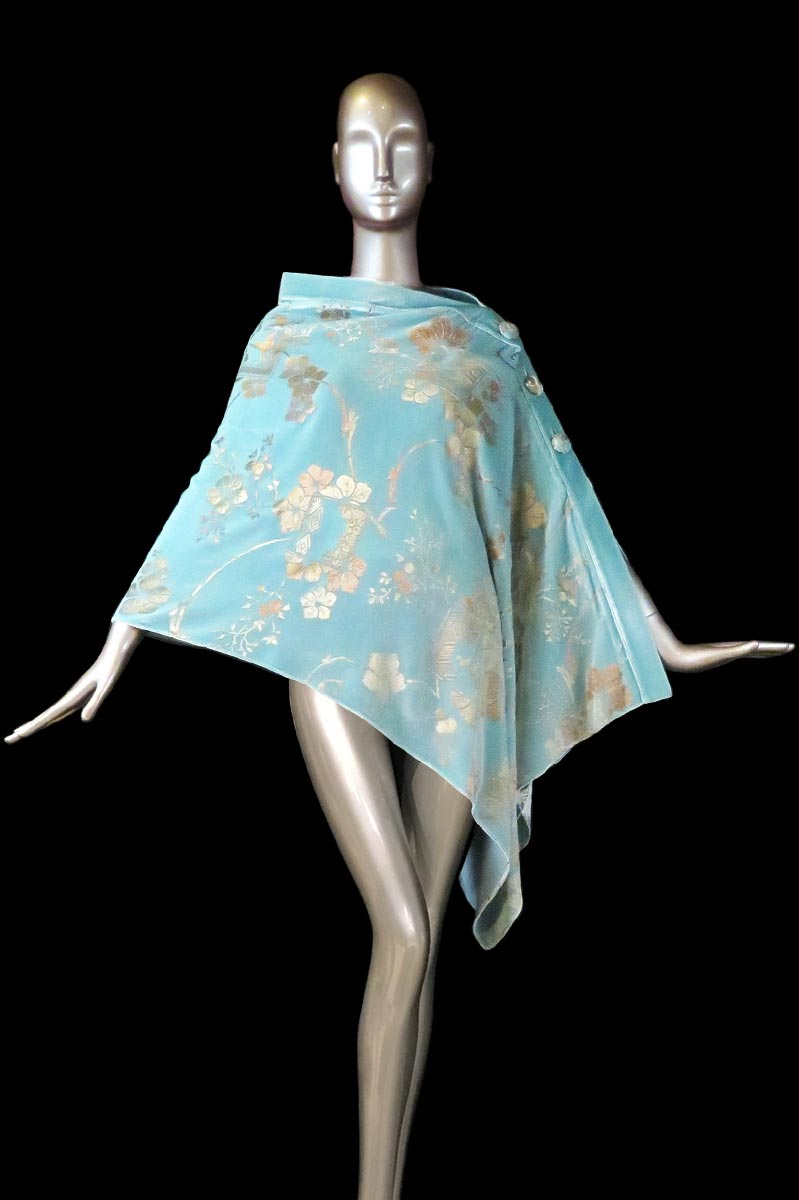 Fortuny light turquoise printed velvet stole with buttons side