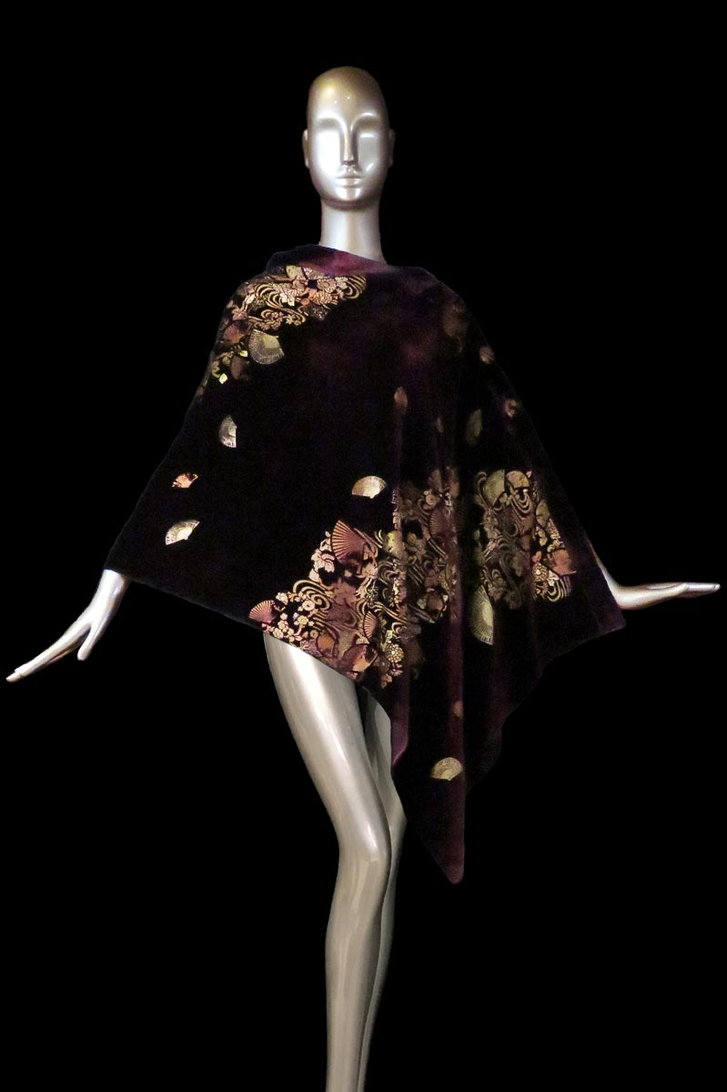 Fortuny bordeaux printed velvet stole with buttons side