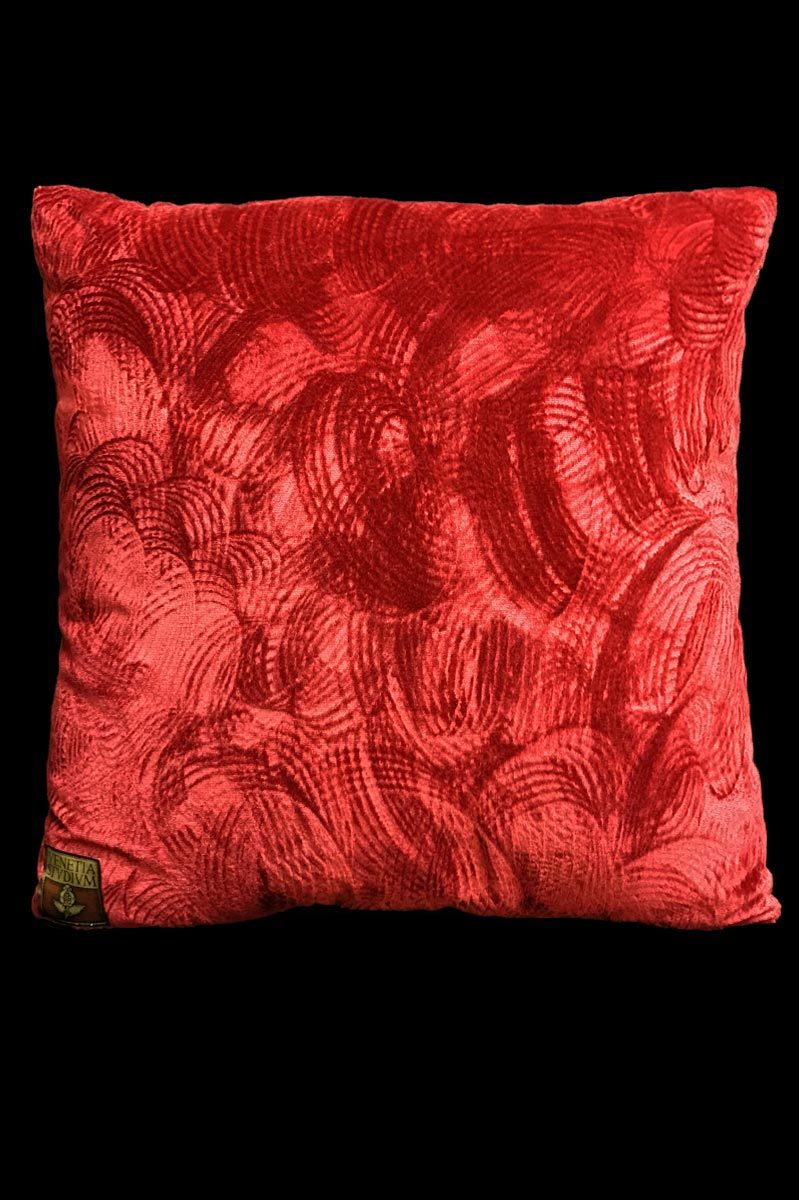 Venetia Studium red printed velvet cushion back