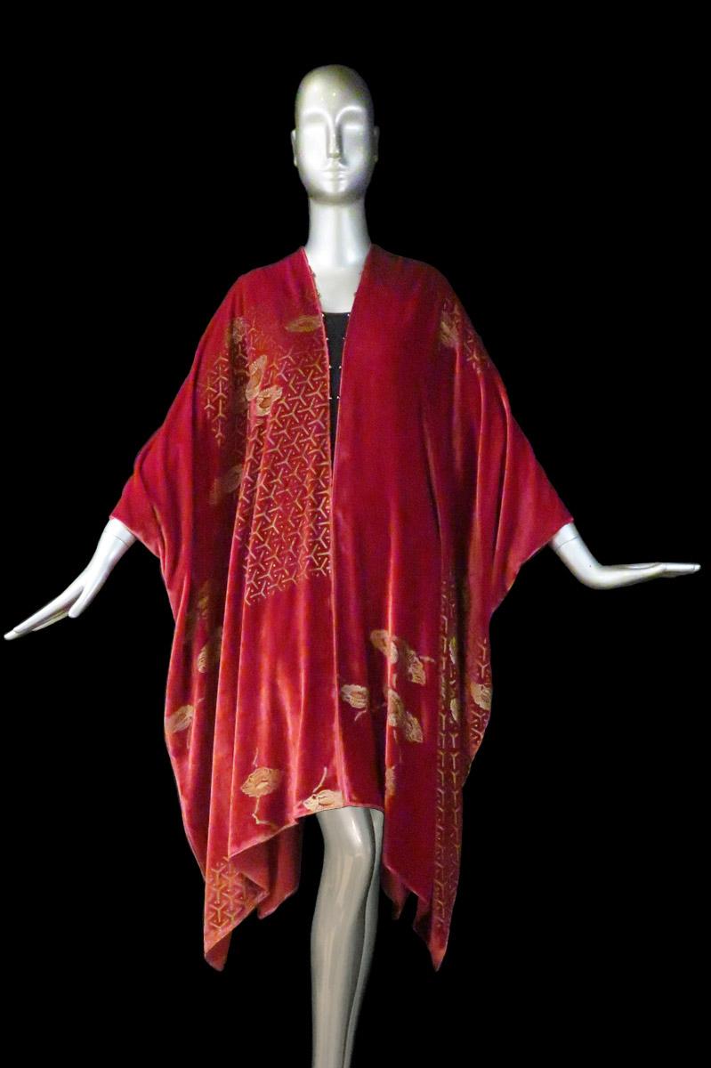 Fortuny printed velvet long evening coat