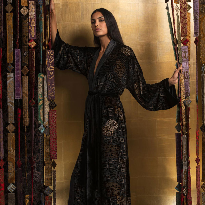 Fortuny printed velvet long evening coat category